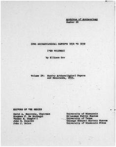 Iowa archaeological reports 1934 to 1939. Volume IV, Sundry archaeological papers and memoranda, 1935