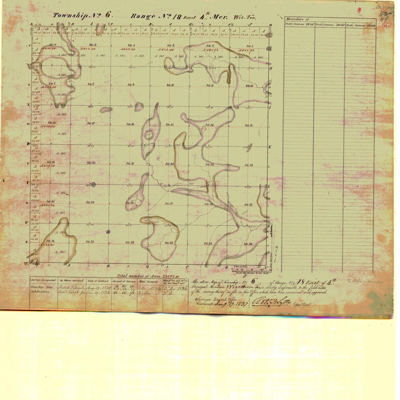 [Public Land Survey System map: Wisconsin Township 06 North, Range 18 East]