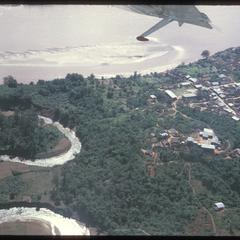 Town and paddy fields
