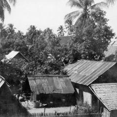 View of residential section of Luang Prabang; courtyard of house