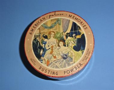 Round American Memories dusting powder box