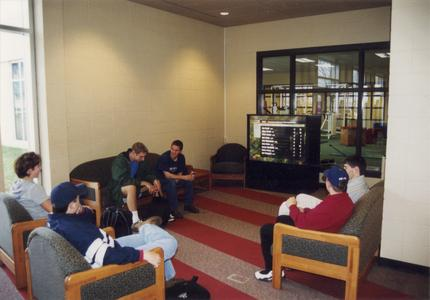 Students sitting in the commons, University of Wisconsin--Marshfield/Wood County
