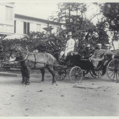 Staff of General E. S. Otis in Gen. Otis' carriage, Malacanang, Manila, 1898