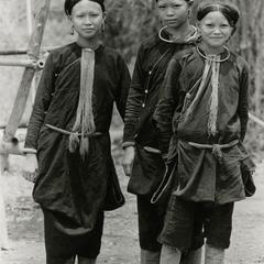 Three Lanten women in traditional dress in Houa Khong Province