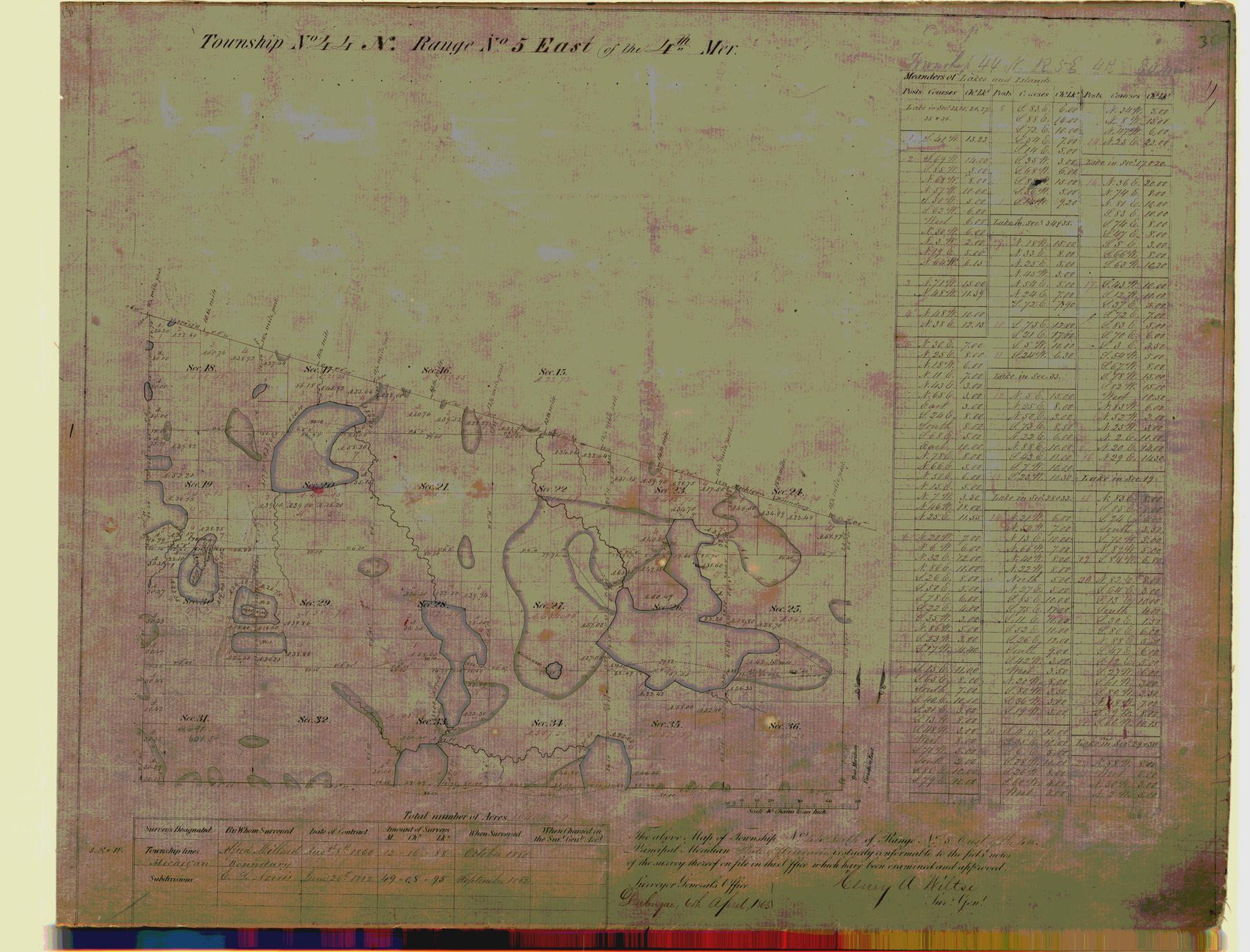 [Public Land Survey System map: Wisconsin Township 44 North, Range 05 East]