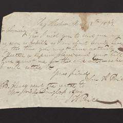 Letter from John K. Price, Sag Harbor to Felix Dominy, 1833