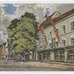 [Painting of Hitler's birthplace bedecked with Nazi banners]