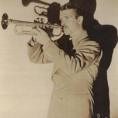Bunny Berigan playing his trumpet with shadow behind