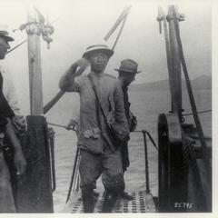 General Aguinaldo boards the U.S.S Vicksburg, 1900