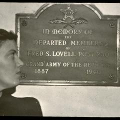 Tablet in memory of Fred S. Lovell Post 230