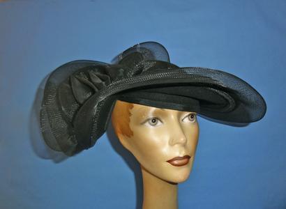 Wide round black felt hat