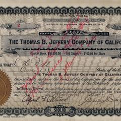 Jeffery Company stock certificate