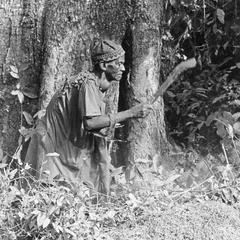Close-Up of Farmer Clearing Bush for Burning and Planting
