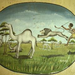Wall Painting with Hunter, Lion, and Camels