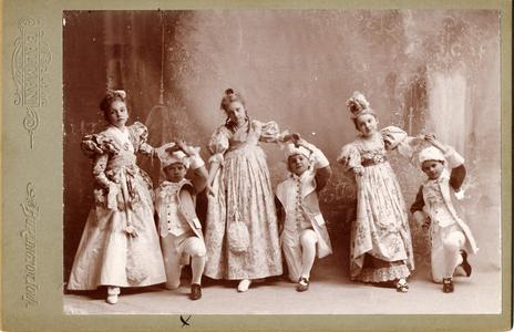 Age 10, in group dancing minuet in school production, Burlington, Iowa, February 1897 (Aldo 2nd from left)