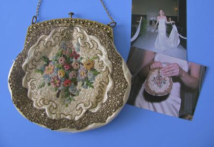 Cream silk evening bag with photos