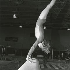 Female gymnast on vault