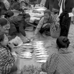 Lao women selling fresh fish from Mekong at morning market, Vietnamese woman at right