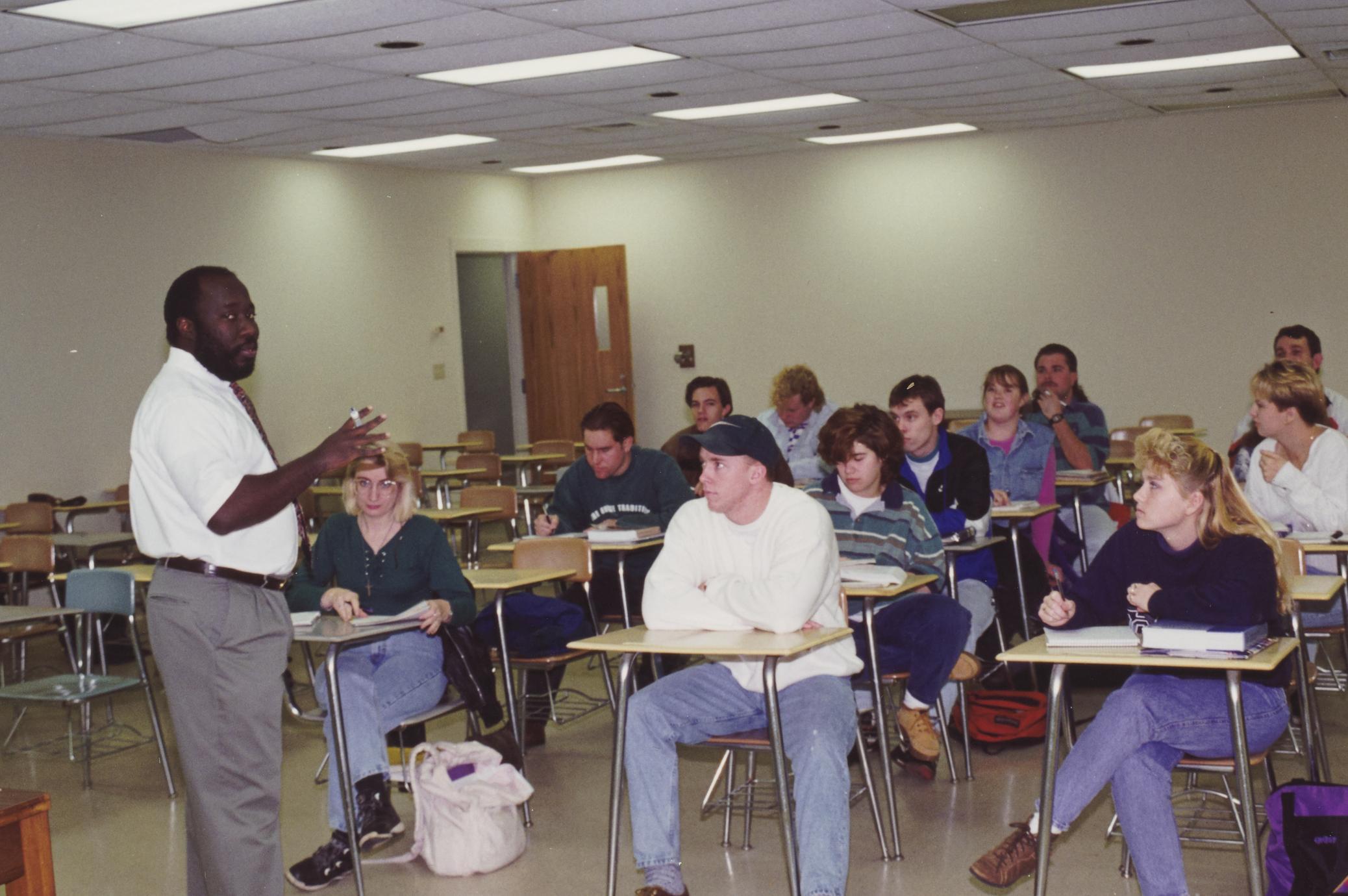 Professor George Jones teaching a class
