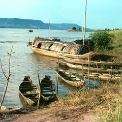Houseboat and Other Boats on Niger River near Lokoja