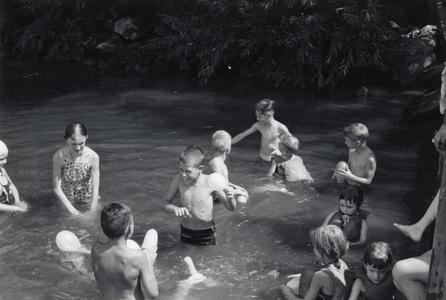 Children swimming at Camp Gallistella Tent Colony