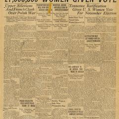 '27,000,000 women given vote,' Houston Post headline