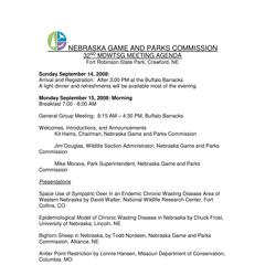Nebraska Game and Parks Commission : 32nd MDWTSG meeting agenda, Fort Robinson State Park, Crawford, NE