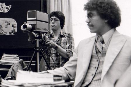 Student with video camera