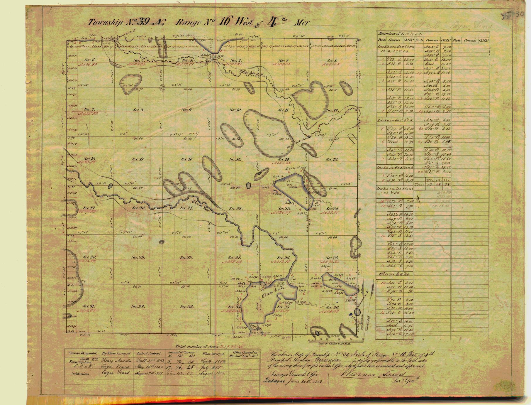 [Public Land Survey System map: Wisconsin Township 39 North, Range 16 West]