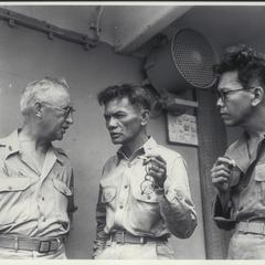 Dr. J. R. Hayden meets Col. R. A. Kangleon, leader of guerrilla forces, Leyte, 1944