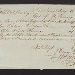Bill and receipt from Henry Young, 1827, for military uniform materials