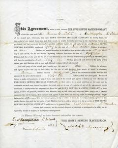 Lease agreement between Mrs. Frances C. Lester and the Howe Sewing Machine Co., 1872