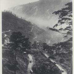 View of the Benguet zig-zag mountain road, Baguio, 1910-1930