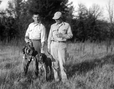 Woodcock hunting with Robert McCabe and dog, Gus, 1946