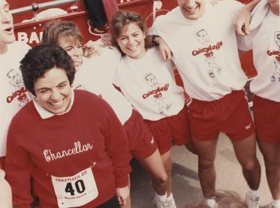 Chancellor Donna Edna Shalala at the annual Crazylegs run in Madison