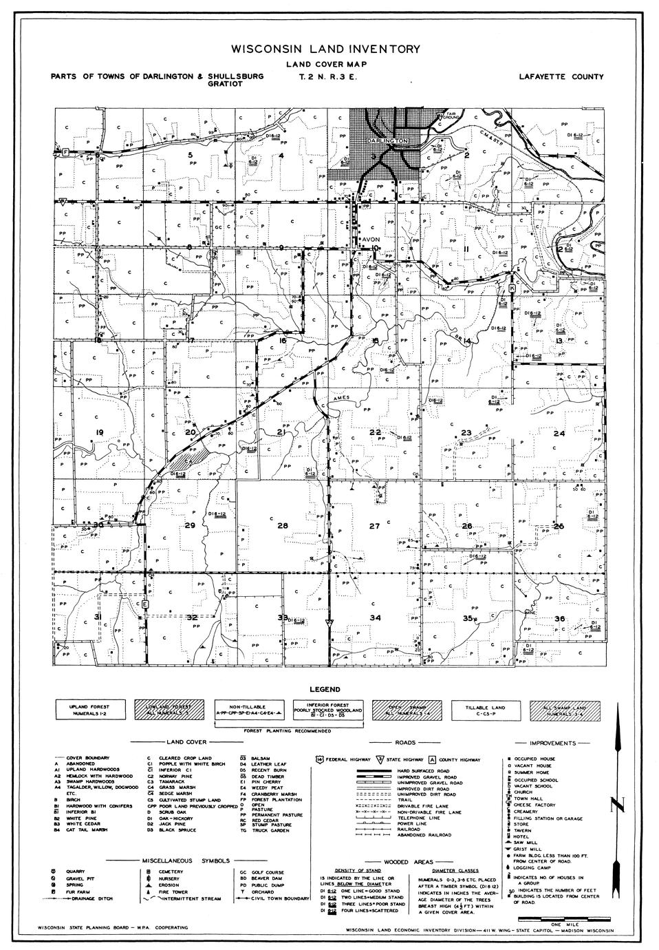 Parts of towns of Darlington, Shullsburg and Gratiot
