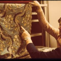 Observing a textile from the Helen Louise Allen Textile Collection