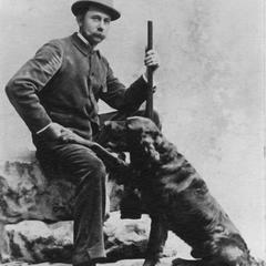 Carl Leopold (Aldo's father), and dog, 1890