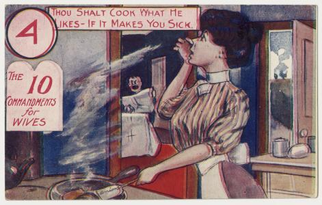 'Thou shalt cook what he likes' postcard