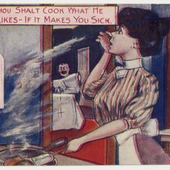 'Thou shalt cook what he likes' postcard