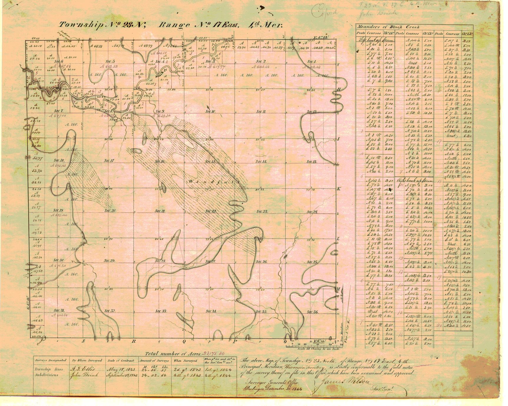 [Public Land Survey System map: Wisconsin Township 23 North, Range 17 East]