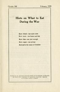 Hints on what to eat during the war