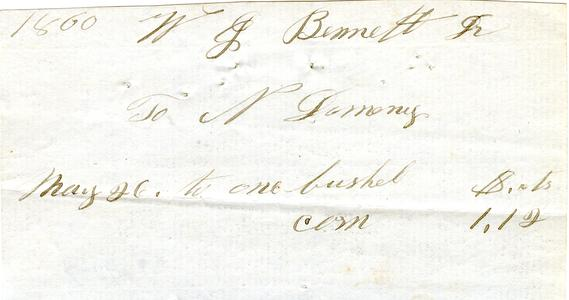 Bill from Nathaniel Dominy VII to W.G. Bennett, 1860