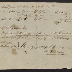 Receipt for a clock sold to David Gardiner of Flushing, 1800