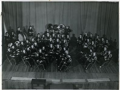 Stout Band group photograph on stage