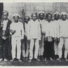 Dato Piang (with cane) and his officials, Mindanao, 1899-1901