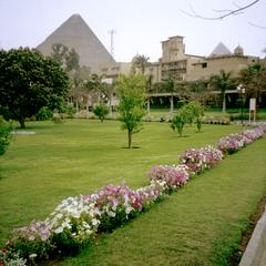 View of Giza Pyramid from Grounds of Mena House Oberoi Hotel