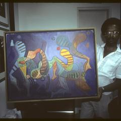 Title Unknown, Sidney Lizardo (Lizar) with one of his works