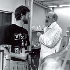 Mike Kahl and research scientist Dr. Larry Brooks in lab