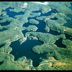 Aerial view of glacially-formed lakes